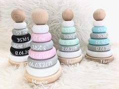Stacking towers / ring stacking towers by Schmatzepuffer® with personalization The special gifts with the birth dates of the baby. Newborn Gifts, Baby Gifts, Baby Newborn, Baby Boy Shower, Baby Shower Gifts, Busy Board Baby, Wooden Painting, Birth Gift, Wood Cutouts