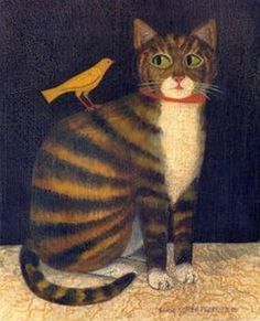 Tiger Cat with Bird - American Folk Art Painting.