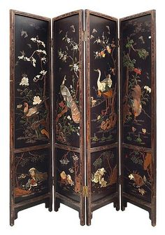 A Chinese four fold floor screen, 19th century, scenic panels…