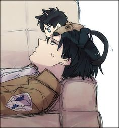 Shingeki no Kyojin - Levi and Eren-cat