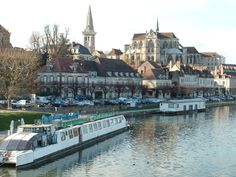 Auxerre, France with Cathedrale Saint-Etienne d'Auxerre in the background.