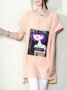 2016 summer dress Nude pink new linen women summer blouse long shirt top