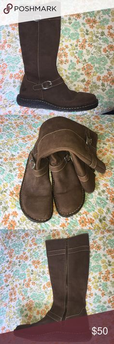 Leather Born Boots Full leather upper and lining. Soft brown colors. Buckle details. Full zipper on inner leg. LIKE NEW NEVER WORN NWOT Born Shoes