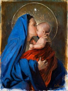 Jesus And Mary Pictures, Mother Mary Images, Images Of Mary, Mary And Jesus, Jesus Mother, Blessed Mother Mary, Blessed Virgin Mary, Jesus Christ Painting, Jesus Art