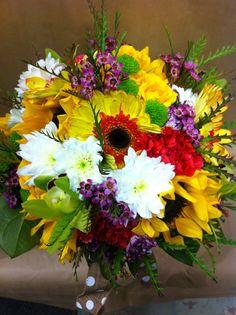 #summer #wedding #yellow #sunflowers #whimsy Wedding Yellow, Summer Wedding, Wedding Bouquets, Floral Wreath, Wreaths, Sunflowers, Flower Arrangements, Plants, Decorations