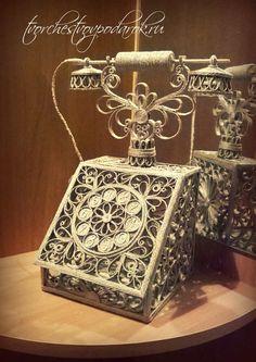Шкатулка из джута в виде старинного телефона. Шкатулка для украшений.