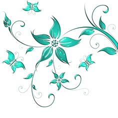Turquoise Flowers, Flower Clipart, Swirls, Flower Designs, Flower Art, Flower Power, Embroidery Designs, Clip Art, Drawing Flowers