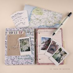 Travel album, travel fun, travel scrapbooking, travel note taking. Polaroids, maps, day lists and memorabilia.