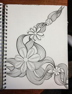 Floral Twist Doodle sharpie art by Heidi Denney