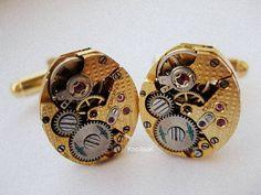 Rotary Gold Steampunk Cufflinks by KoollooK on Etsy, $90.00