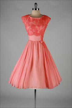 vintage 1950s dress . peach silk crepe . by millstreetvintage