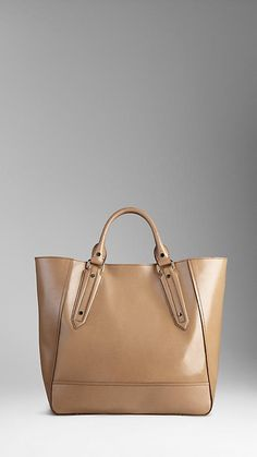 Large Patent London Leather Portrait Tote Bag | Burberry