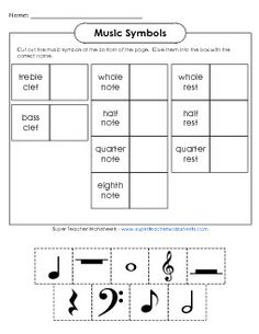 Music Symbols Worksheet