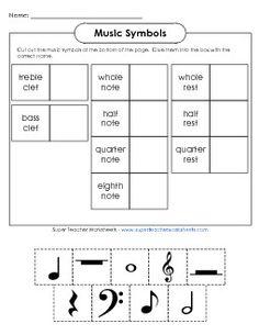 Music Symbols Worksheet