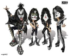 Rock Caricature By Sebastian Cast Caricature Artist, Caricature Drawing, Funny Caricatures, Celebrity Caricatures, Banda Kiss, Kiss World, Kiss Art, Hot Band, Celebrity Drawings
