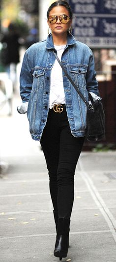 89f98fe342a Denim jacket outfit ideas 2018 for ladies to wear in winter