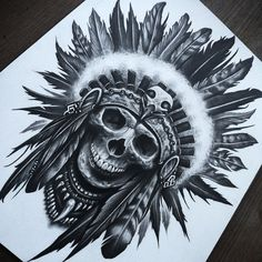 Skull/Headdress by herrerabrandon60 on DeviantArt tatuajes | Spanish tatuajes…