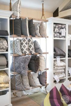 Terrific throw pillows… (don't you want a hanging shelf like this in your home? me too!)   Layers Beautiful Bedding