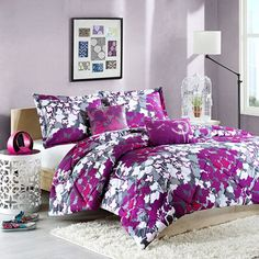 Purple and gray comforter set.