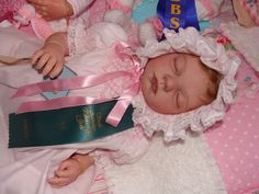 Reborn Baby girl Monique...Noah kit by Reva Schick....4lbs & 7oz's...18 inches...rooted hair...She won 1st prize at the South Australian Reborn Doll Guild Show in 2013...Created by me..