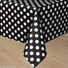 BLACK POLKA DOT PLASTIC TABLECOVER ~ Birthday Party Supplies Room Decoration