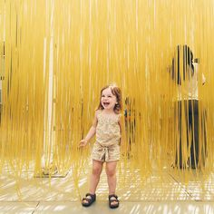 "Los Angeles County Museum of Art sur Instagram : The playful and profoundly sensorial aspect of Jesús Rafael Soto's ""Penetrable"" has made it one of the most popular works in the museum—an object that invites the viewer to become one with the work of art. #regram via @nickisebastian: In her element at ""the yellow playground"" @lacma #rockthatmuseumkid #calicami [Jesús Rafael Soto, Penetrable, 1990, Colección Patricia Phelps de Cisneros] #LACMAPlusYou"
