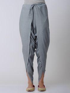 Grey Tie-up Waist Cotton Dhoti Pants - Designer punjabi suits - Design Salwar Designs, Kurti Designs Party Wear, Fancy Blouse Designs, Designs For Dresses, Indian Designer Outfits, Indian Outfits, Tunic Dress With Leggings, Tulip Pants, Pilates