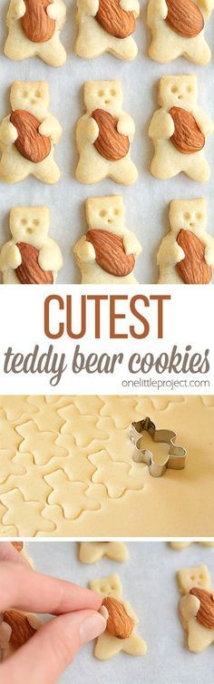 These teddy bear cookies are SO CUTE and they taste amazing! They look like the… These teddy bear cookies are SO CUTE and they taste amazing! They look like they are hugging the almonds! They're simple to make and completely adorable! Cookie Desserts, Cookie Recipes, Dessert Recipes, Teddy Bear Cookies, Teddy Bears, Christmas Baking, Christmas Recipes, Creative Food, Sweet Recipes