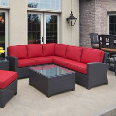 Cabo Wicker Sectional Set by North Cape International Featured Patio Set Includes - Right Arm Loveseat, Left Arm Loveseat, Corner Chair, Middle Chair, Co Pergola Designs, Patio Design, Family Leisure, Corner Chair, Refurbished Furniture, Luxury Homes, Wicker, Outdoor Living, Outdoor Furniture Sets