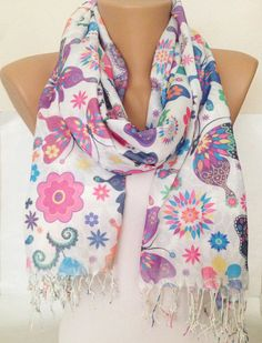 Print  Scarf   Ivory Butterfly Scarf   Colorful Floral by MaxiJoy, $18.00