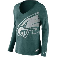Philadelphia Eagles Nike Women's Logo Wrap Tri-Blend V-Neck Long Sleeve T-Shirt - Green
