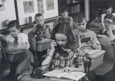 a class in telephone etiquette  at the Crawford school, 1952