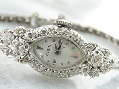 Platinum and Diamond and White Gold Ladies Elgin Watch from Art Deco Era