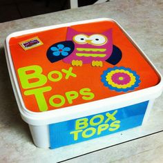 Owl theme box tops collection bin.   Box tops for education