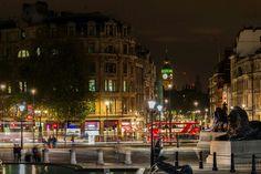 Trafalgar Square at night London Attractions, Trafalgar Square, Westminster, Big Ben, Fountain, Street View, Night, City, Places