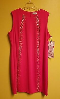 NWT CALVIN KLEIN PLUS SIZE SLEEVELESS PINK STUDDED SHEATH DRESS SIZE 24W