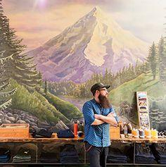Danner,interior,boutique,shop,boot,shelf,diaplay,mural,Mount Hood,people,man,staff,postcard,incense