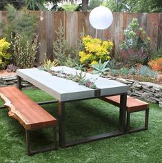 Add a major statement piece to your lawn. This custom-built succulent table was commissioned and built by DIG Gardens. Want to try your hand at a backyard table? You can learn to pour your own concrete tabletop on ReadyMade. Garden Furniture, Outdoor Furniture Sets, Outdoor Decor, Cottage Exterior, Bungalow Exterior, Stucco Exterior, Grey Exterior, Exterior Colors, Exterior Paint
