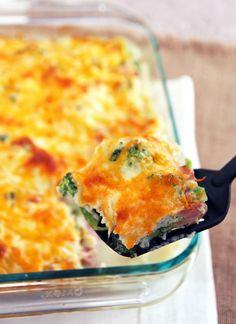 Healthy Cauliflower Broccoli Casserole with Ham