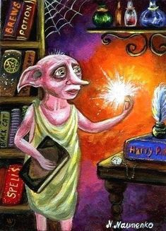 Original Miniature Painting Harry Potter Dobby fairy tale ACEO N.Naumenko | #1754419417 Dobby Harry Potter, Fairy Tales, Miniatures, The Originals, Painting, Art, Art Background, Painting Art, Kunst