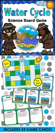 Water Cycle: Water Cycle game contains 54 game cards and a game board to help students practice key vocabulary and concepts related to the water cycle. This water cycle game works great as a pair/group activity, or for use in science centers.