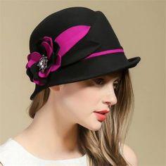 Elegance flower felt cloche hat for women vintage winter wool hats f56e28ed7dcd