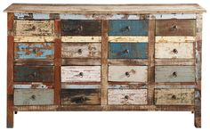 Recycled wood counter chest, multicoloured W Iron Furniture, Funky Furniture, Affordable Furniture, Recycled Furniture, Recycled Wood, Paint Furniture, Industrial Furniture, Furniture Makeover, Furniture Movers