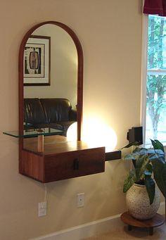 Studio Wood Craftsman Wall Mirror Cabinet Shelf Lamp Mid Century Modern Eames