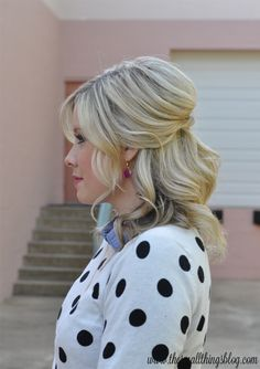 The Small Things Blog: Casual Half Up Hair Tutorial (+ polka dots!) - So easy, love her tutorials!