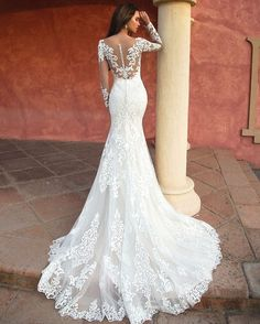Gorgeous White Mermaid Wedding Dress Long Sleeves Lace Appliques Scoop Neck Court Train Illusion Handmade Bridal Gowns from - Lace Wedding Dresses - Lace Wedding Dresses Top Wedding Dresses, Wedding Dress Trends, Wedding Dress Sizes, Party Wear Dresses, Boho Wedding Dress, Bridal Dresses, Mermaid Wedding, Lace Wedding, Dress Party