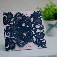 navy blue and blush pink laser cut wedding invitation kit EWWS036