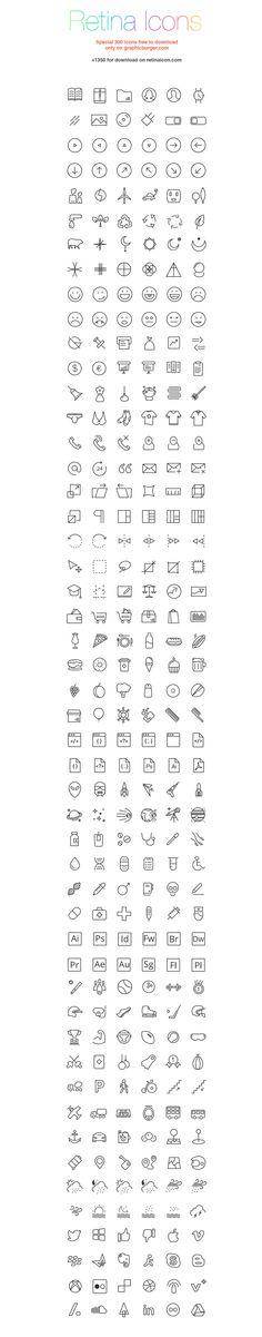 RetinaIcon: 300 Free Icons
