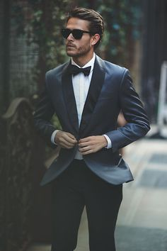 that color // menswear, mens, style, fashion, tuxedo, tux, formal, wedding, bowtie, blue, sunglasses