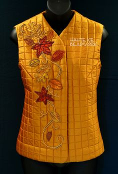 Falling Leaves Vest, experimentation with applique and bead embroidery on clothing.